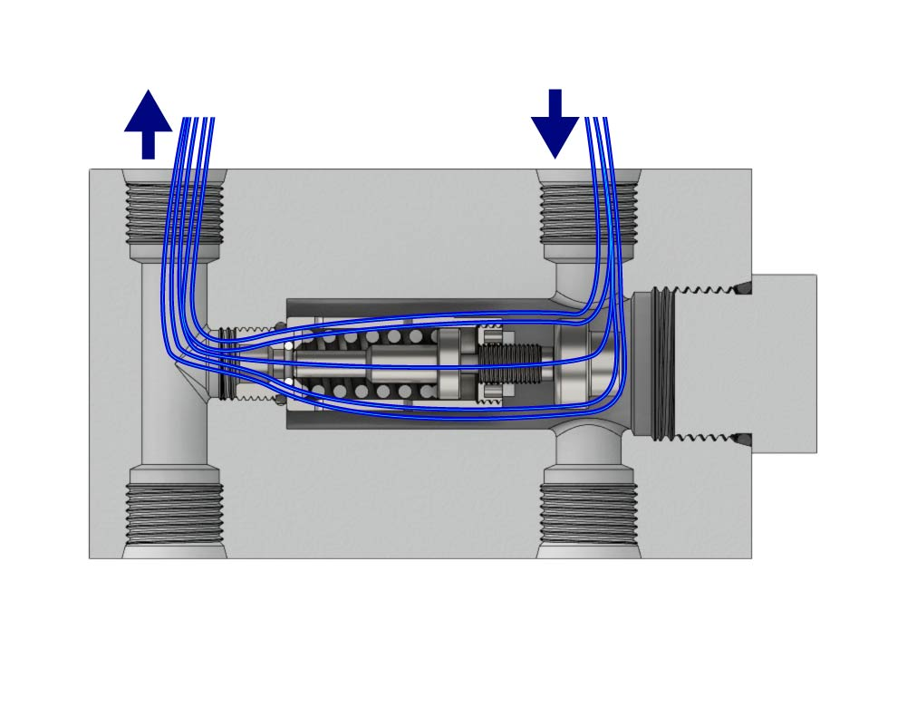Thermal Bypass 4 Port Valve Open
