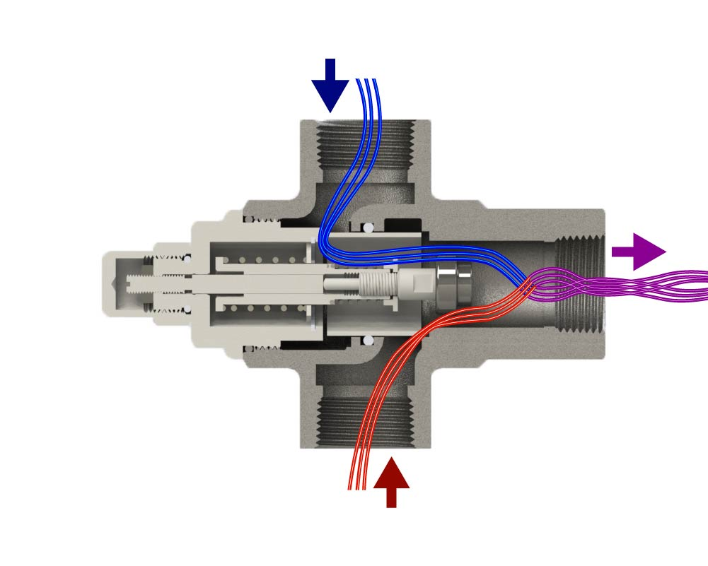Thermal Bypass Valve Mixing Hot/Cold Full Open
